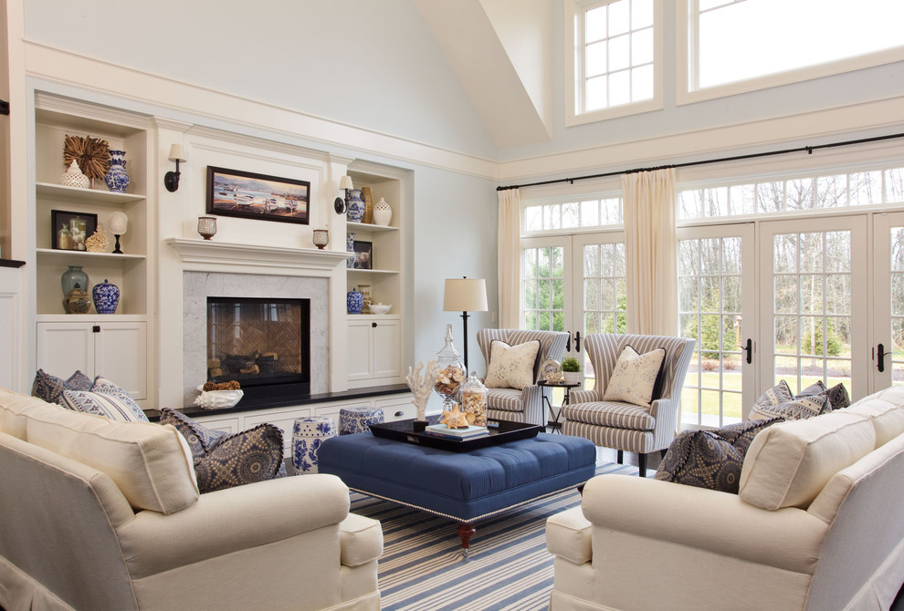 ticking fabric Living Room Beach with area rug blue walls built-in shelves Clerestory