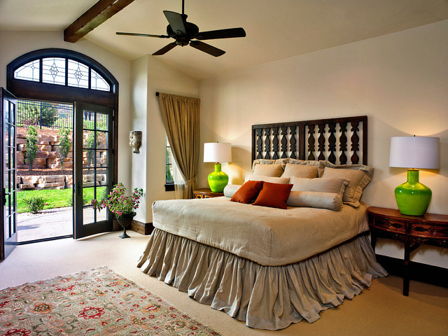 Tie Dye Bedding Bedroom Traditional With Arched Transom Window