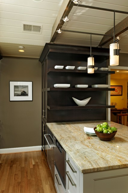 Tiella Lighting Kitchen Transitional with Cherry Cabinetry Dark Toekick Painted Cabinetry Rustic Beams Sculpted