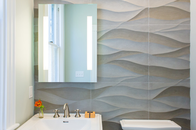 Tiella Lighting Powder Room Beach with Accent Tile Accent Wall Artistic Tile Bathroom Dimensional Tile