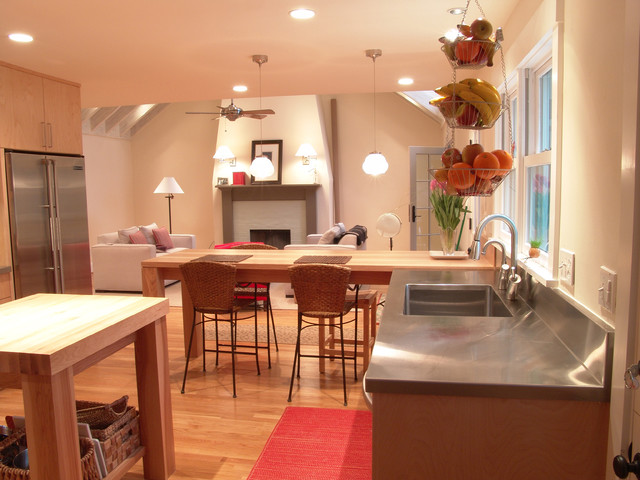 Tiered Fruit Basket Kitchen Contemporary with Breakfast Counter Butcher Block Island with Shelf Family Room