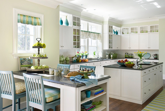 tiered fruit basket Kitchen Victorian with barn house blue green counter stools craftsmen style crown