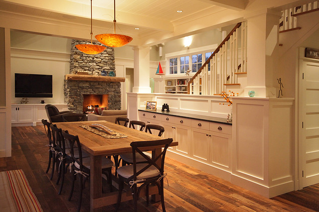Tiered Server Dining Room Rustic with Bowl Chandelier Built in Storage Ceiling Lighting Exposed Beams