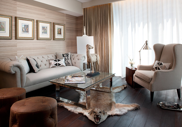 Tiger Rug Living Room Transitional with Art Beige Brown Leather Ottomans Chrome Lamp Coffee Table