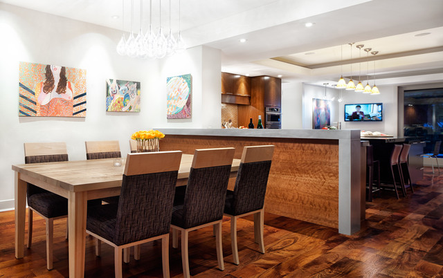 Tiger Wood Flooring Dining Room Contemporary with Abstract Art Art Brown Dining  Chair Dining Dining Room
