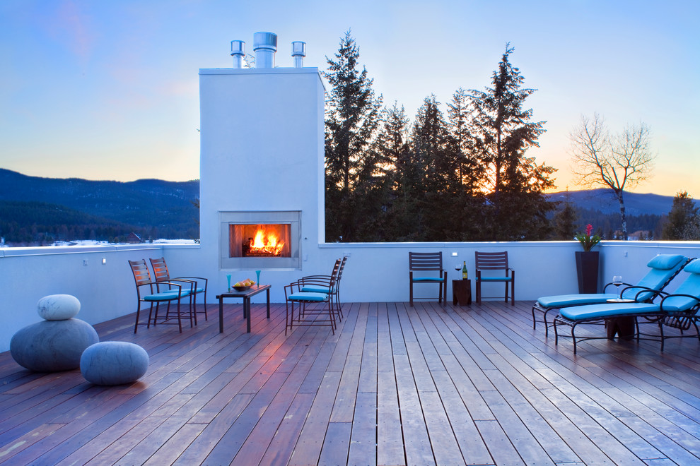 tigerwood decking Deck Contemporary with deck felted wool stones Fireplace geothermal heating