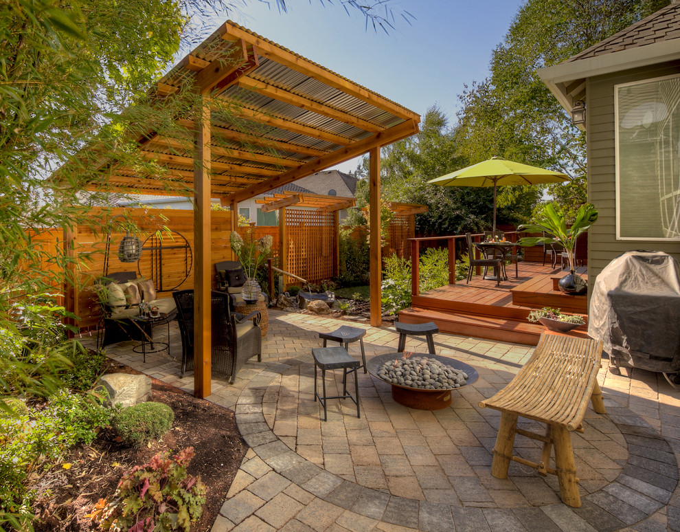 Charming Tigerwood Decking Patio Traditional With Bamboo Water Feature Brick Patio  Fire Pit   Bamboo Patio Shade