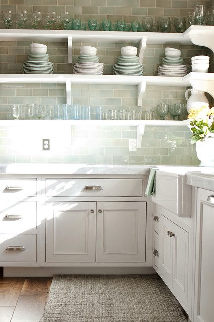 Tin Backsplash Tiles Kitchen Traditional with Blue Cabinetry Farm Sink Farmhouse Sink Glass Green Light
