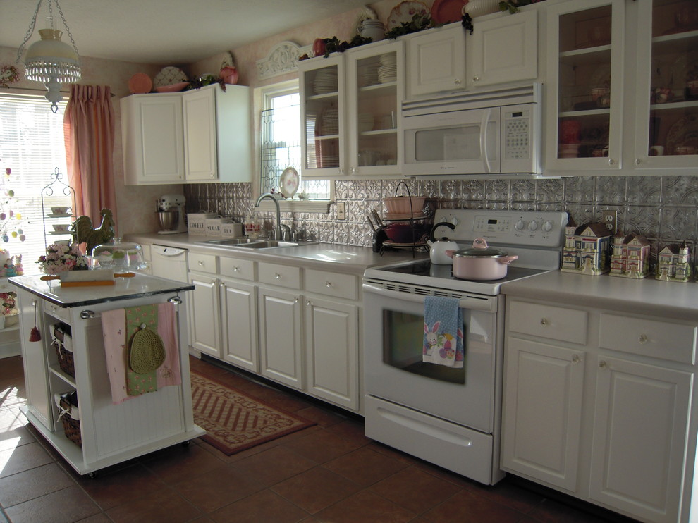 Tin Tile Backsplash Kitchen Traditional with Cabinets Cottage Glass Front Cabinets Island Kitchen