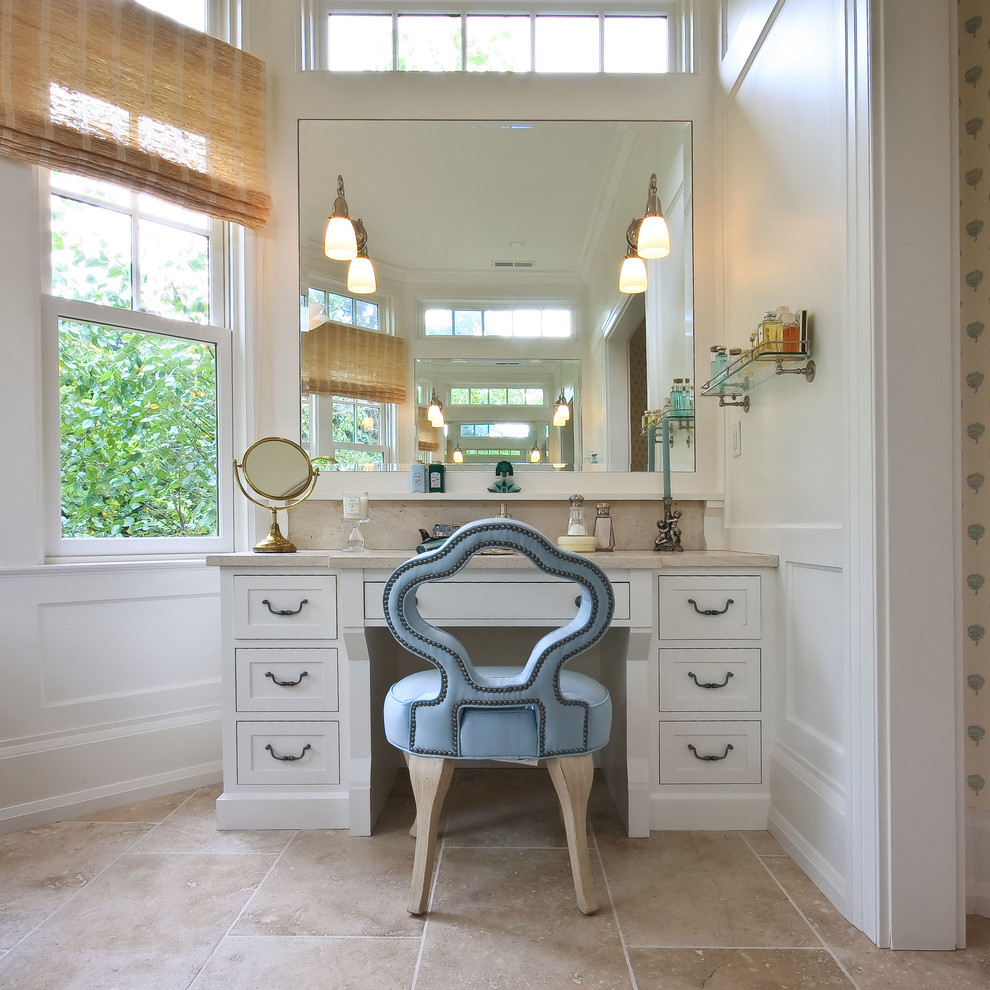Toe Kick Heater Bathroom Traditional with Blue Chair Board and Batten Chair Rail