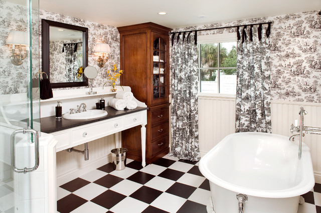 Toile Bathroom Ideas: Toile-curtains-Deck-Contemporary-with-outdoor-drapery