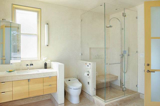 toilet bidet combo Bathroom Contemporary with bench in shower floating vanity frosted glass door glass