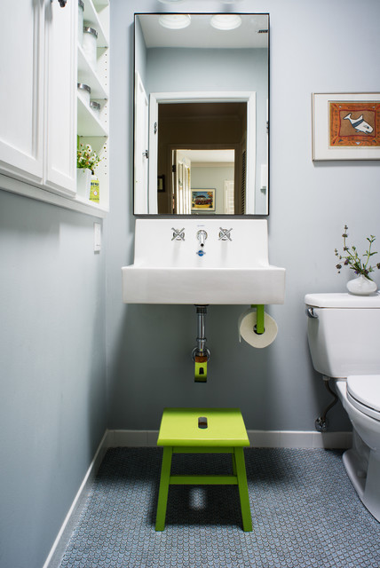 Toilet Paper Dispenser Bathroom Transitional with Built in Cabinets Built in White Cabinets Gray Wall Green Step