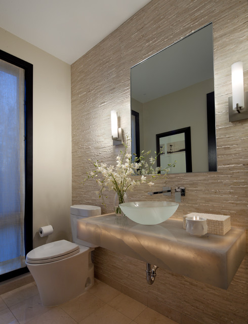 toilet paper dispenser Powder Room Contemporary with above counter sink beige wall tile beige walls bowl
