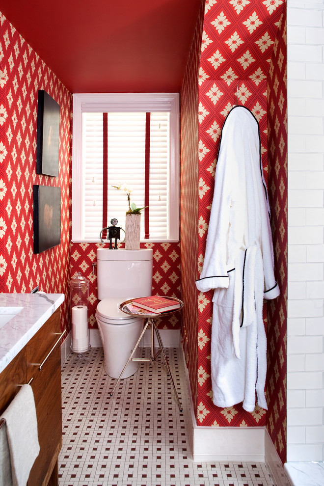 toilet paper holder stand Bathroom Eclectic with black and white tiled floor red red