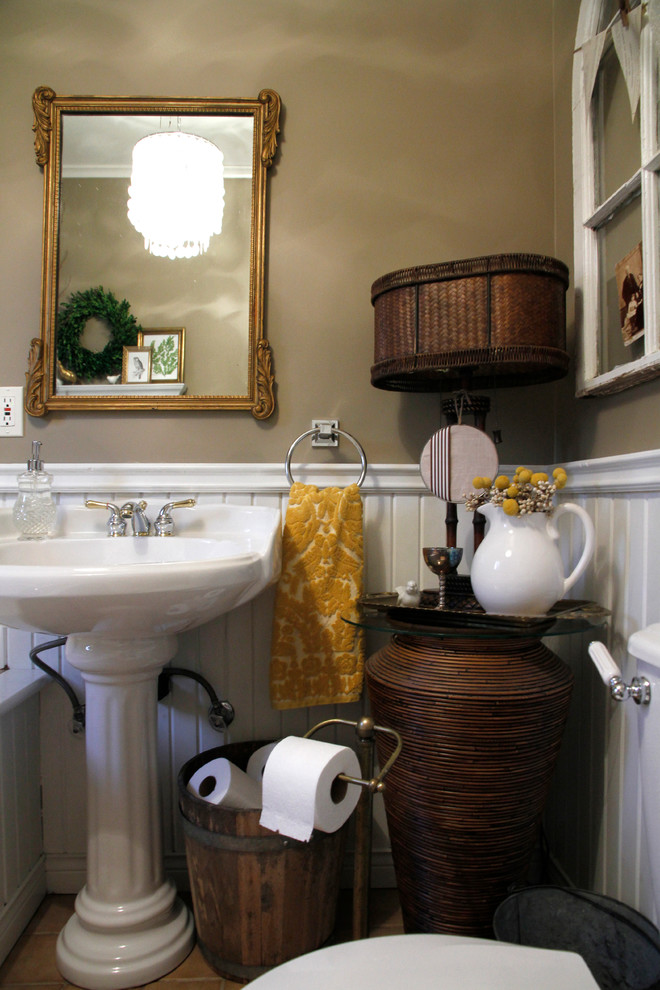 Toilet Paper Holder Stand Bathroom Eclectic with Ceramic Sink Chair Rail Damask Towel Double