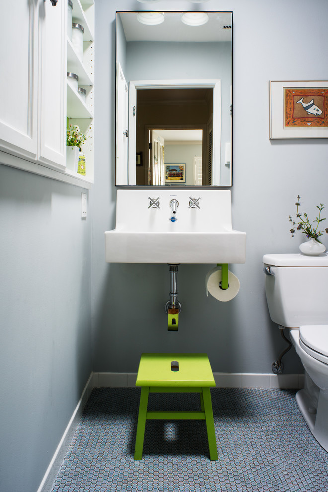 Toilet Paper Holder Stand Bathroom Transitional with Built in Cabinets Built in White Cabinets Gray Wall
