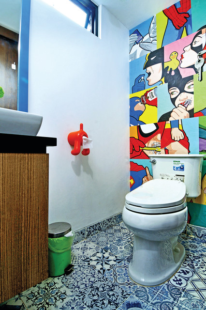 toilet tissue holder Powder Room Contemporary with blue and white floor tile color comic book wall