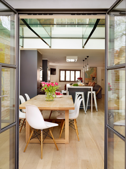 tolix Dining Room Contemporary with bespoke kitchen eames chairs family kitchen glass beams glass