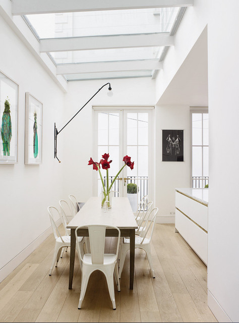 Tolix Dining Room Contemporary with Dining Chairs Dining Room Engineered Wood Flooring Green Paintings1