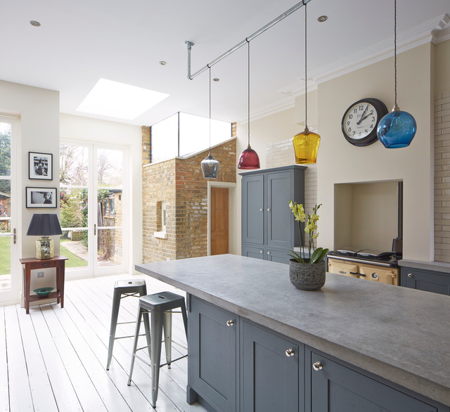 Tolix Kitchen Transitional with Coloured Glass Pendants Concrete Worktop Exposed Brick French Doors1