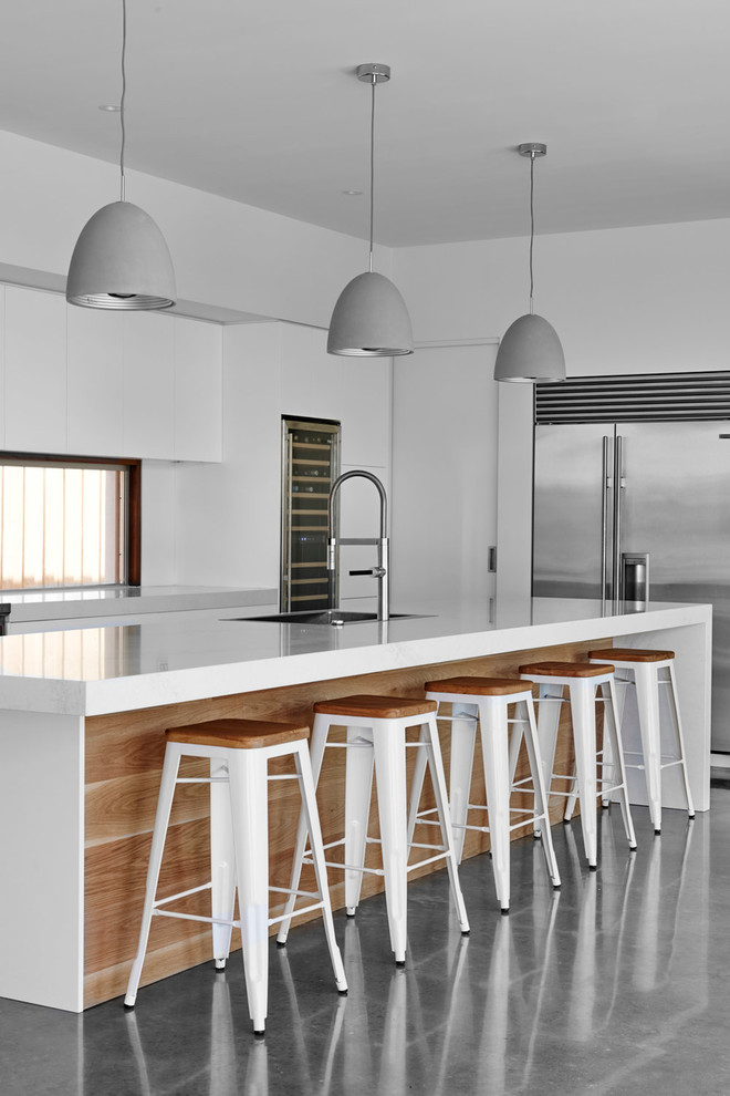 Tolix Stool Kitchen Contemporary with Architecture Family Home Gray Pendant Lights Grey