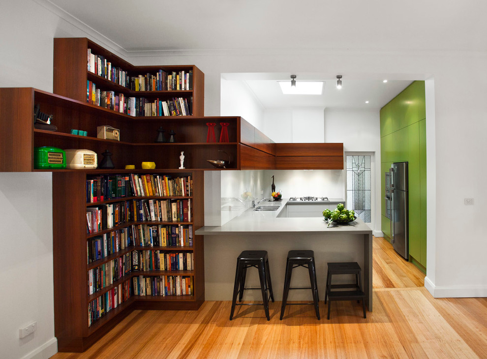 Tolix Stool Kitchen Contemporary with Black Tolix Stools Built in Bookshelf Cabinets