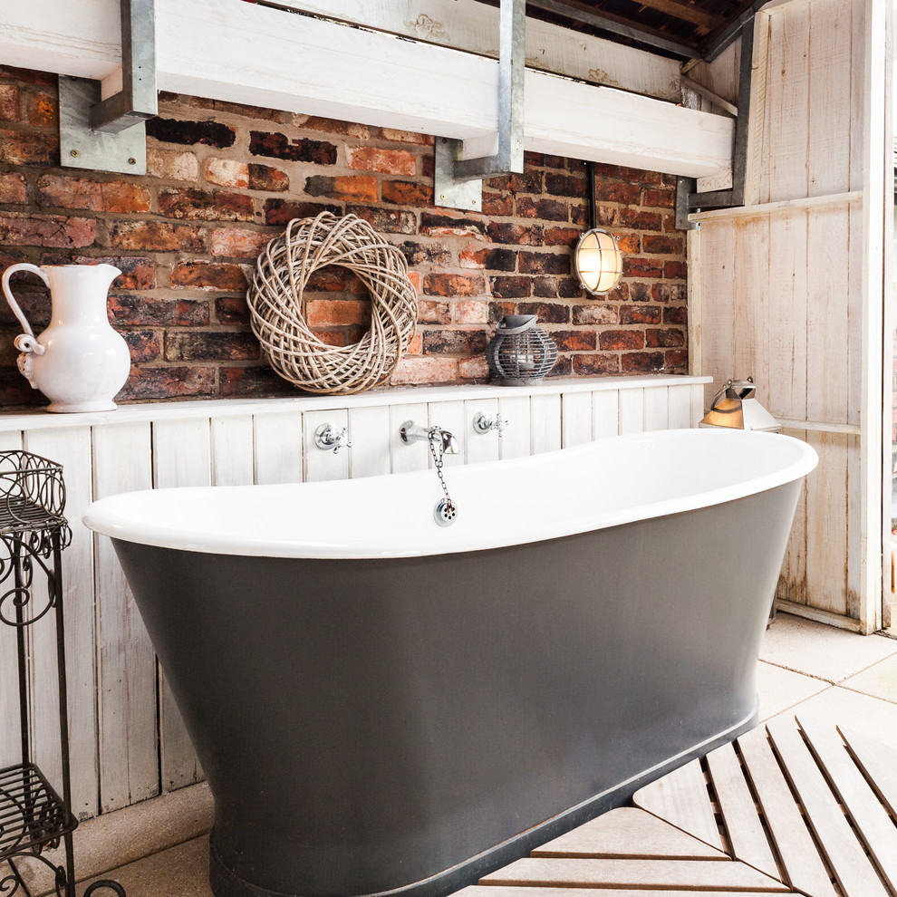 Tongue and Groove Paneling Bathroom Rustic with Bathroom Black Tub Distressed Wood Exposed Beam