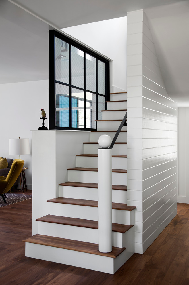 Tongue and Groove Paneling Staircase Farmhouse with Ball Finial Black Window Handrail High Gloss