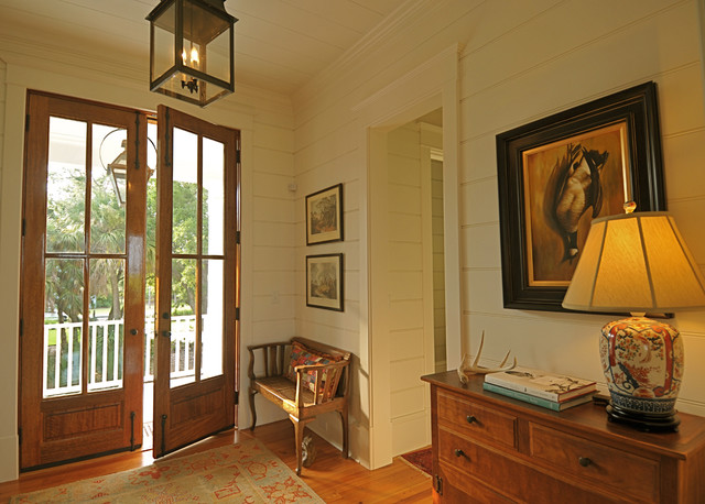 Tongue and Groove Siding Entry Traditional with Baseboard Ceiling Lighting Console Table Crown Molding Door Hardware