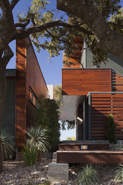 Tongue and Groove Siding Exterior Contemporary with Cantilever Covered Walkway Entrance Entry Geometric Geometry Gravel Horizontal