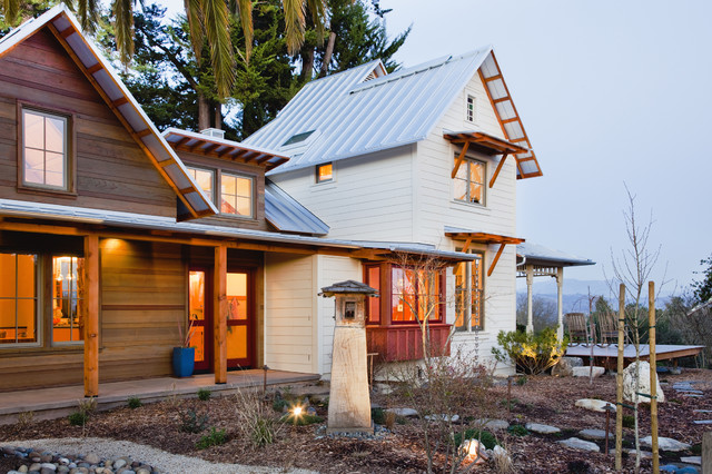 Tongue and Groove Siding Exterior Farmhouse with Awning Garden Art Garden Lighting Metal Roof Mulch Path