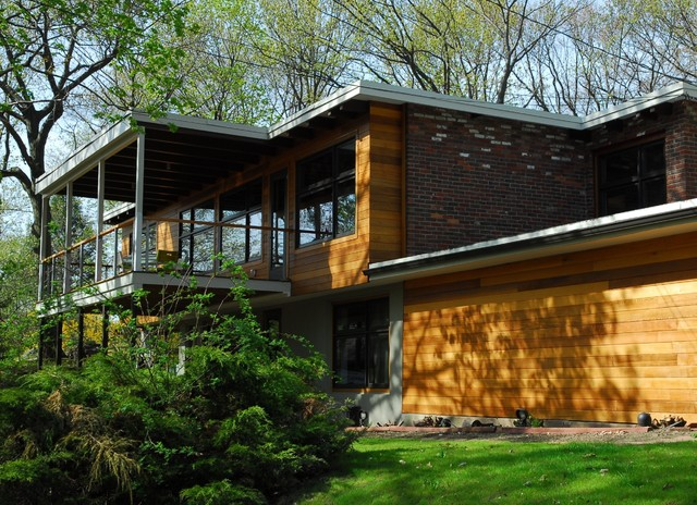Tongue and Groove Siding Exterior Modern with Balcony Brick Wall Eaves Flat Roof Geometric Geometry Handrail