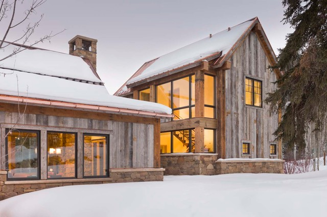 Tongue and Groove Siding Exterior Rustic with Copper Rain Gutter Entry Exterior Gable High Pitch Large