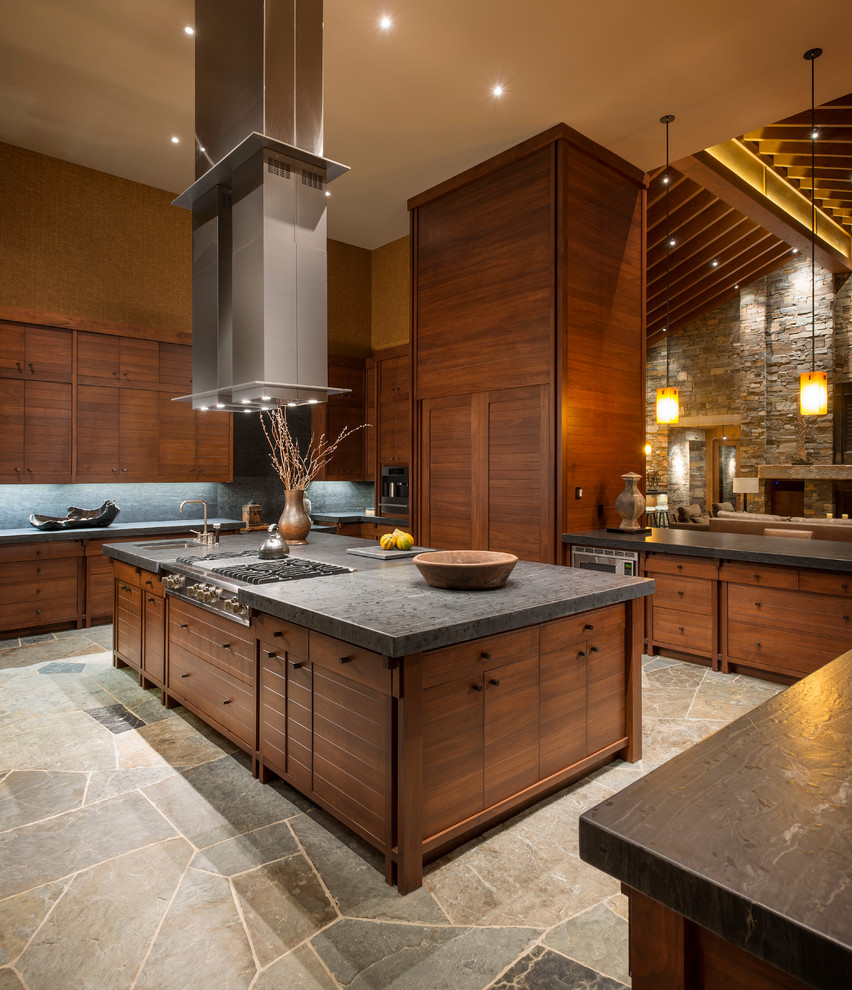 Top Grain Leather Sectional Kitchen Rustic with High Ceilings Island Hood Kitchen Island Range