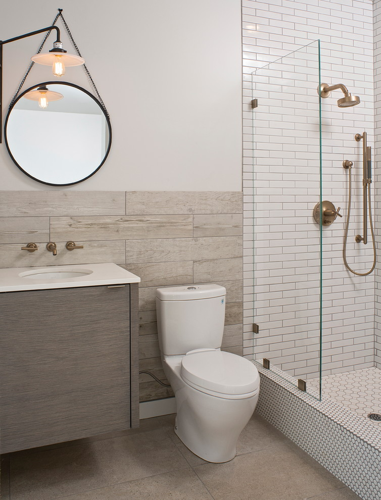 Toto Aquia Bathroom Contemporary with Floating Vanity Glass Panel Hanging Circle Mirror