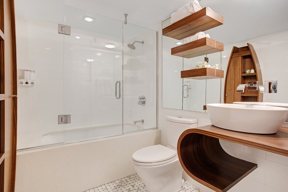 Toto Aquia Ii Bathroom Contemporary with Basketweave Floor Tile Curved Countertop Floating Shelves