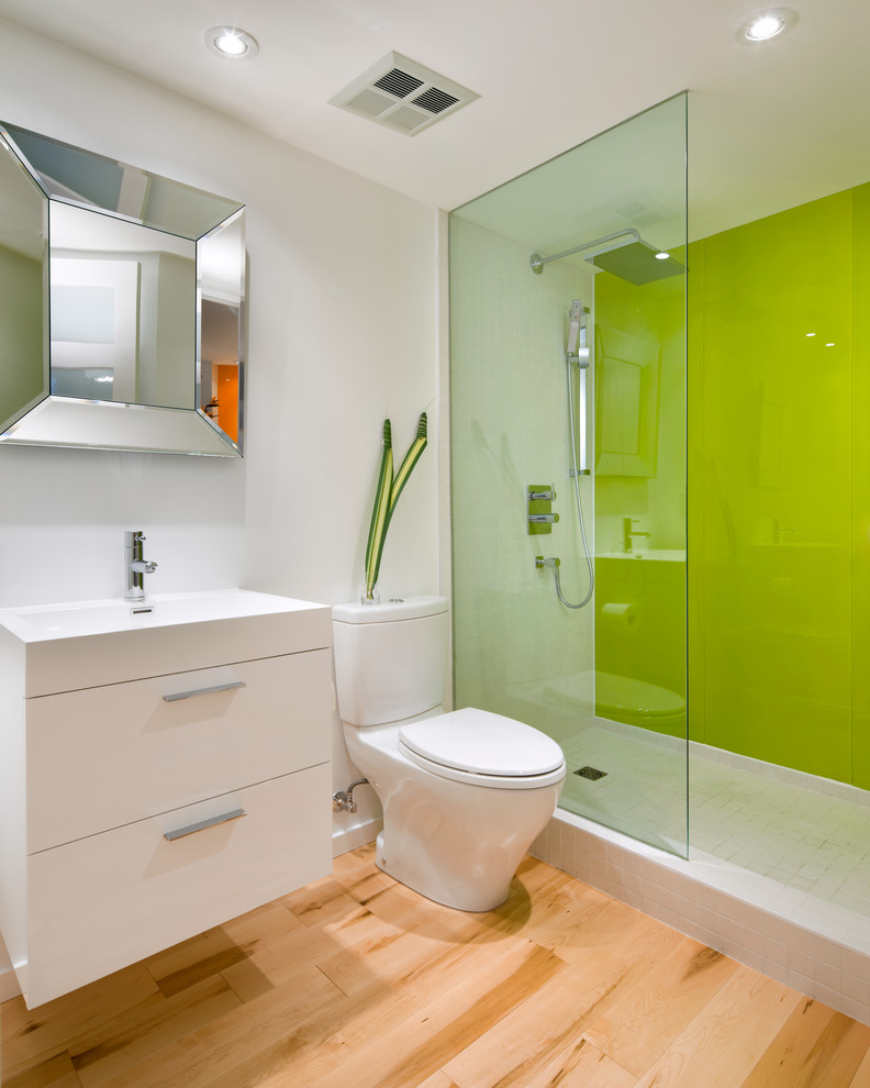 Toto Aquia Ii Bathroom Contemporary with Beveled Mirror Chartreuse Floating Vanity Green Glass