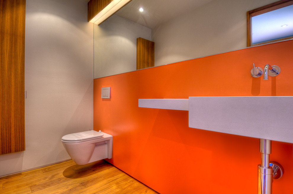 toto wall hung toilet Bathroom Modern with accent wall bathroom mirror floating toilet minimal
