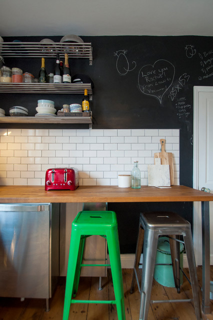 Tournee Du Chat Noir Kitchen Eclectic with Chalkboard Wall Floating Shelves Green Stool Metal Stool White4