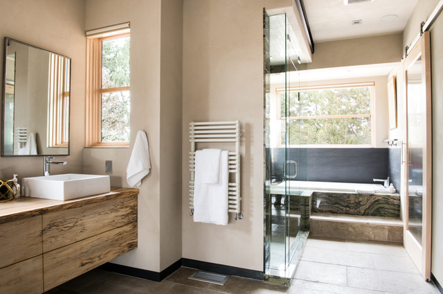 Towel Warmer Cabinet Bathroom Contemporary with Floating Vanity Framed Mirror High Ceiling Single Handle Faucet