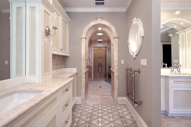 Towel Warmer Cabinet Bathroom Traditional with Arched Doorway Barrel Vault Beige Frame and Panel Mirrors