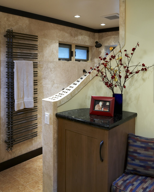 towel warmer cabinet Spaces Contemporary with ceiling lighting crown molding earth tone colors neutral colors