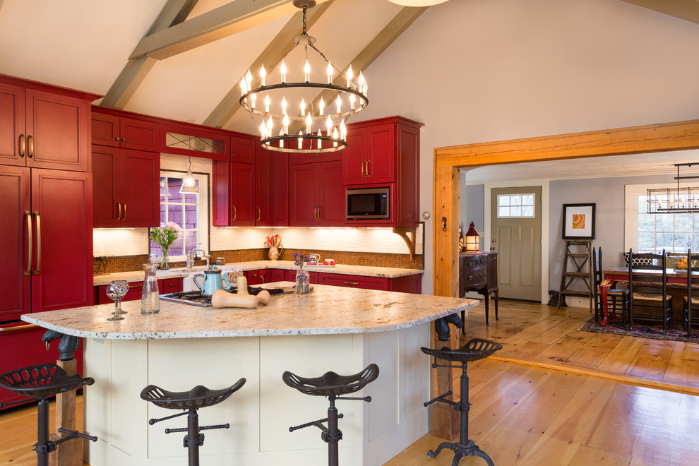 Tractor Seat Bar Stools Kitchen Farmhouse with Beams Chandelier Counter Stools Doorway Entry Equestrian