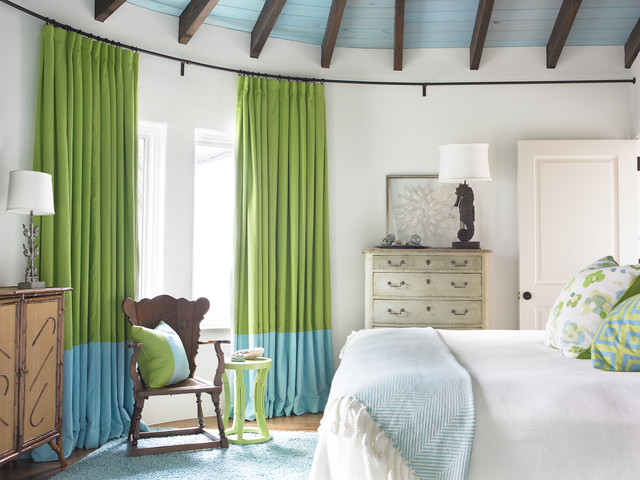 Traverse Curtain Rods Bedroom Beach with Bed Blue Blue Drapes Dresser Green Green Curtains Green