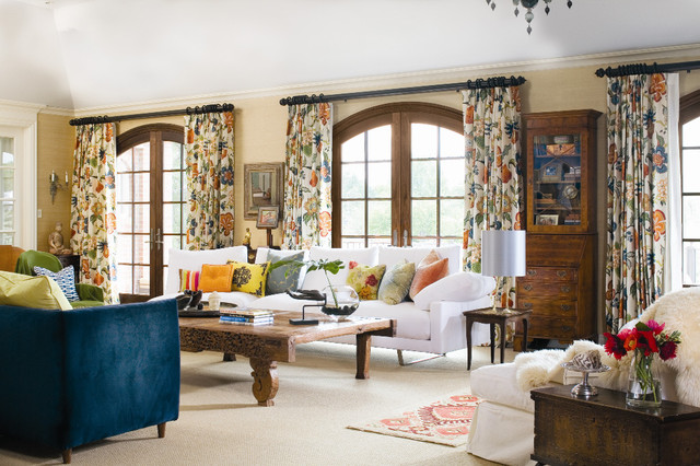 Traverse Curtain Rods Living Room Traditional with Bold Patterns Curtains Decorative Pillows Drapes Floral Arrangement Mixing