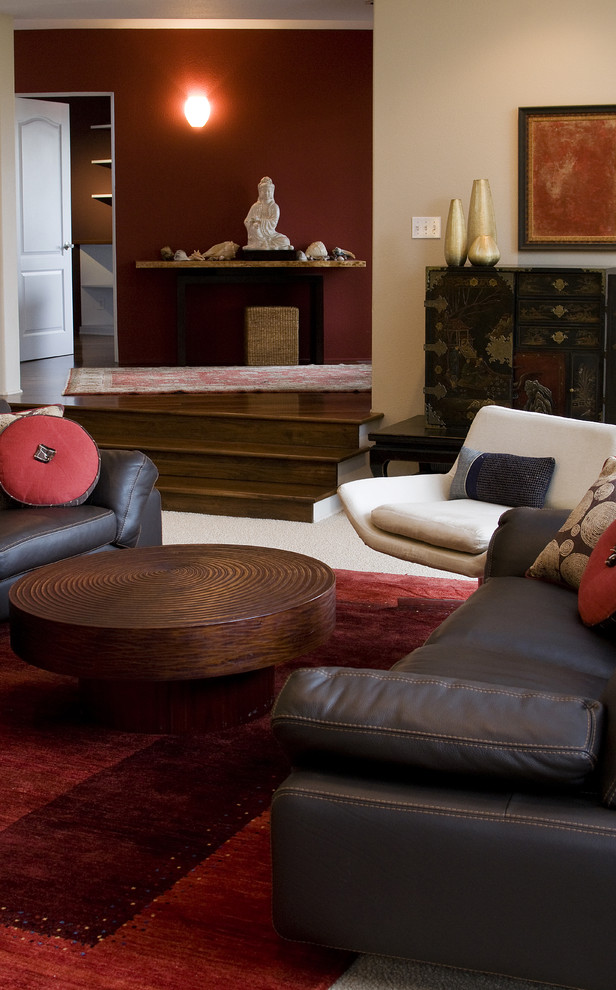 Travertine Coffee Table Living Room Contemporary with Area Rug Asian Beige Dark Stained Wood