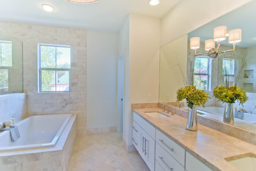 Travertine Countertops Bathroom Contemporary with Beige Double Sink Floating Cabinet Mirror Recessed