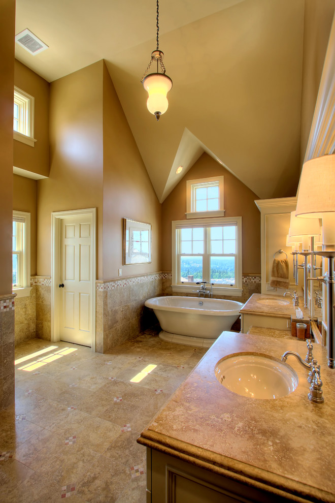 Travertine Countertops Bathroom Traditional with Accent Tile Bath Brown Concealed Commode Double