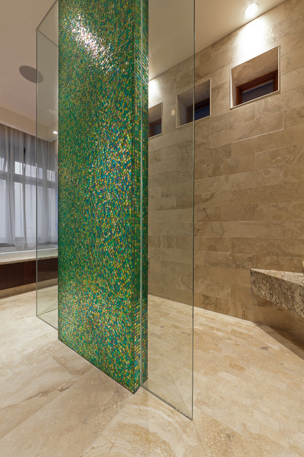 travertine tiles Bathroom Contemporary with glass green mosaic tile green tile accent wall open